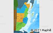 Political 3D Map of Belize, darken, land only