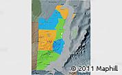 Political 3D Map of Belize, darken, semi-desaturated