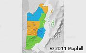 Political 3D Map of Belize, lighten, desaturated