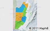 Political 3D Map of Belize, lighten, semi-desaturated