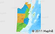 Political 3D Map of Belize, single color outside, bathymetry sea