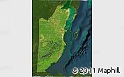 Satellite 3D Map of Belize, darken