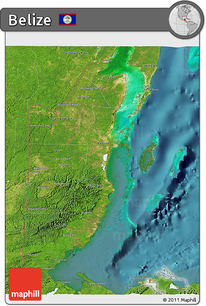 Satellite 3D Map of Belize