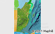 Satellite 3D Map of Belize, political outside, satellite sea