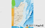 Shaded Relief 3D Map of Belize, political outside, shaded relief sea