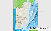 Shaded Relief 3D Map of Belize, political shades outside, shaded relief sea