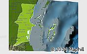 Physical 3D Map of Belize, darken