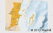 Political 3D Map of Belize, lighten