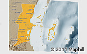 Political 3D Map of Belize, semi-desaturated