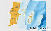 Political 3D Map of Belize, single color outside