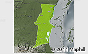 Physical 3D Map of Belize, darken, semi-desaturated