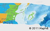 Political Shades Panoramic Map of Belize