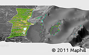 Satellite Panoramic Map of Belize, desaturated