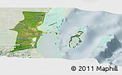 Satellite Panoramic Map of Belize, lighten