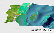 Satellite Panoramic Map of Belize, single color outside