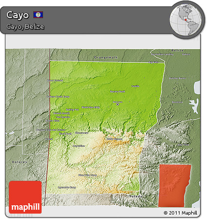Physical 3D Map of Cayo, semi-desaturated