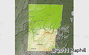 Physical Map of Cayo, darken, semi-desaturated