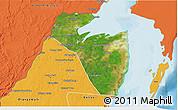 Satellite 3D Map of Corozal, political outside