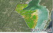 Satellite 3D Map of Corozal, semi-desaturated
