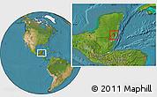 Satellite Location Map of Corozal, highlighted parent region