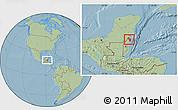 Savanna Style Location Map of Corozal, hill shading
