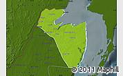 Physical Map of Corozal, darken