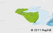 Physical Panoramic Map of Corozal, single color outside