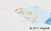Shaded Relief Panoramic Map of Corozal, single color outside