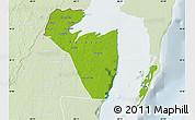 Physical Map of Corozal, lighten