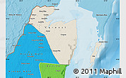 Shaded Relief Map of Corozal, political shades outside