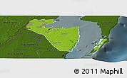 Physical Panoramic Map of Corozal, darken