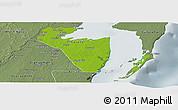 Physical Panoramic Map of Corozal, semi-desaturated