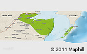 Physical Panoramic Map of Corozal, shaded relief outside