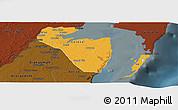 Political Panoramic Map of Corozal, darken