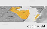 Political Panoramic Map of Corozal, desaturated