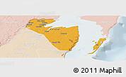 Political Panoramic Map of Corozal, lighten