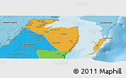Political Panoramic Map of Corozal, political shades outside