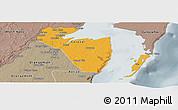 Political Panoramic Map of Corozal, semi-desaturated