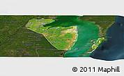 Satellite Panoramic Map of Corozal, darken