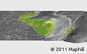 Satellite Panoramic Map of Corozal, desaturated