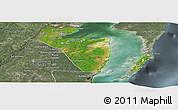 Satellite Panoramic Map of Corozal, semi-desaturated