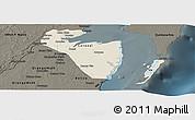 Shaded Relief Panoramic Map of Corozal, darken