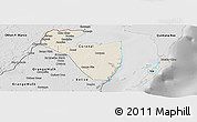 Shaded Relief Panoramic Map of Corozal, desaturated