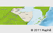 Shaded Relief Panoramic Map of Corozal, physical outside