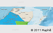 Shaded Relief Panoramic Map of Corozal, political shades outside