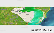 Shaded Relief Panoramic Map of Corozal, satellite outside