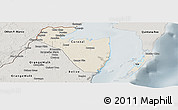 Shaded Relief Panoramic Map of Corozal, semi-desaturated