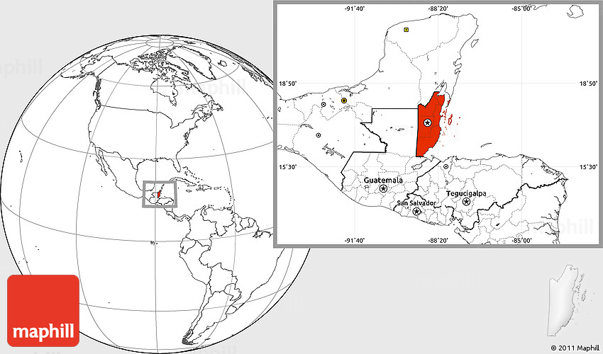 Blank Location Map of Belize