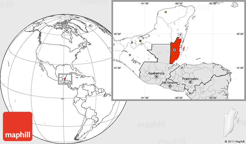 Blank Location Map of Belize highlighted continent