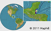 Flag Location Map of Belize, satellite outside